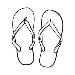 Pair of flip flops, summer time vacation attribute, slippers, shoes, sketch style vector black and white illustration isolated on white background. Hand drawn flip flops, sandals, symbol of summer