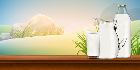 Milk in transparent glass, jug and bottle standing behind, with splash and lot of drops on shiny background high quality realistic vector illustration
