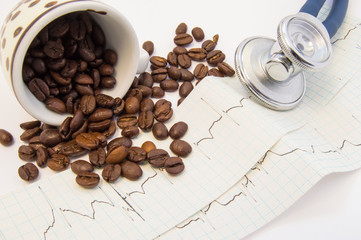 Coffee beans spilled from c and scattered on paper ECG near medical stethoscope. Effect of coffee and caffeine on cardiovascular system, heart rate, function and activity, pulse and blood vessels