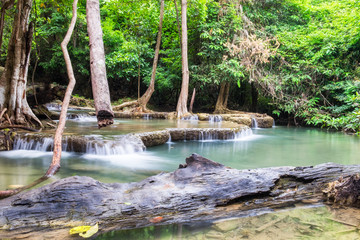 Printed roller blinds Gray traffic Waterfall flowing in tropical rainforest at huai mae khamin national park