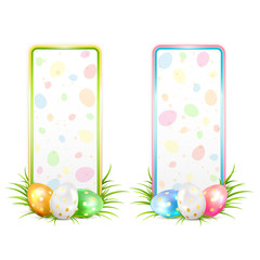 Two Easter banners with multicolored eggs