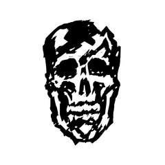 crashed skull vector illustration
