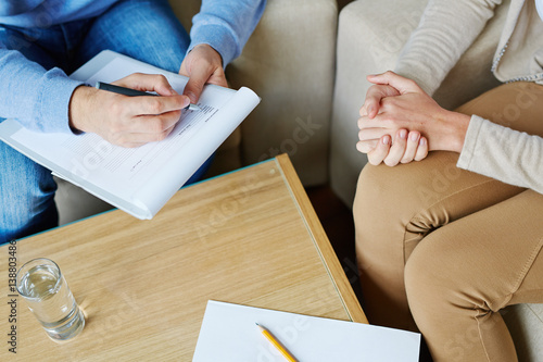 Quot Female Patient Sitting On Armchair And Holding Her Hands