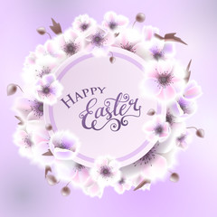 Happy easter card with lettering, white flowers. Vector EPS10