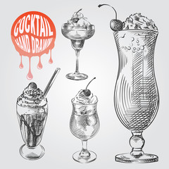 Set of hand drawn sketch style cocktails isolated on white background and blob with drops. Milkshake with cherries and cream in glass sketch vector illustration.
