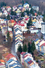 Karlovy Vary aerial panoramic famous spa town view, Czech Republic