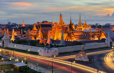 The Emerald Buddha at Sunset, Bangkok, Thailand.