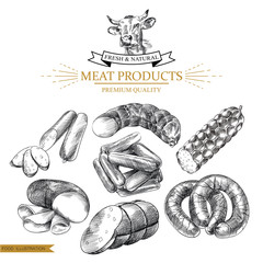 Set of hand drawn sausages isolated on white background. Meat products sketch elements. Retro hand-drawn smoked and boiled sausages vector illustration.