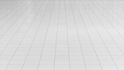 Tile white flooring 3d rendering, texture background, illustration
