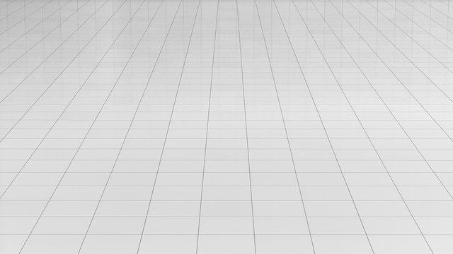 Tile white flooring 3d rendering, texture background, illustration