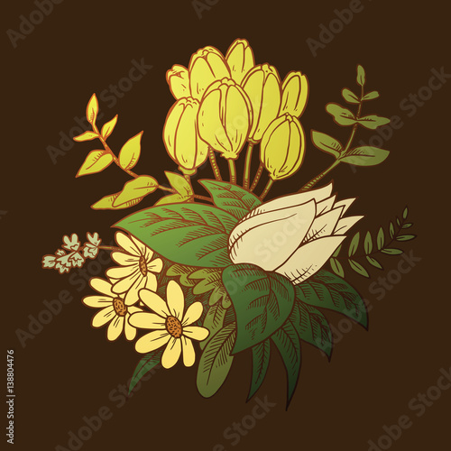 Vector image of a beautiful bouquet of different types of flowers vector image of a beautiful bouquet of different types of flowers yellow tulips white mightylinksfo