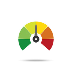 Speedometer. Speedometer vector icon on white background. Colorful Info-graphic