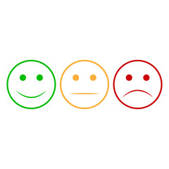 Smiley face. Set Smiley face icon. Happy and unhappy smileys faces. Emoji set. Green and red color. Vector illustration