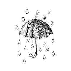 Dotwork Umbrella Rain