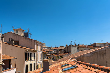 Antibes old town rooftop view and skyline