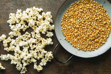 Popcorn and corn seeds.