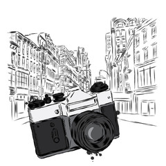 Vintage camera on a city street. Vector illustration. Architecture.