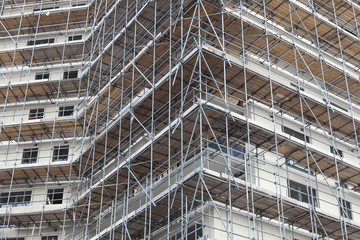 scaffolding on building site of new apartment building