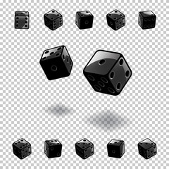 Dice gambling template. Black cubes in different positions on transparent background. Vector illustration.
