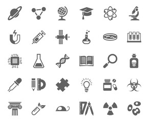 Science, icons, monochrome, vector. Gray icons on white background. Different types of scientific activities.