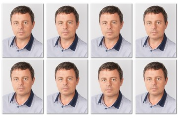 Passport photos of a handsome man