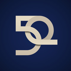 50 years anniversary paper number vector