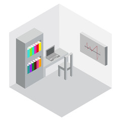 Isometric image of the office business, vector picture