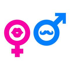 Icono plano femenino labios y masculino bigote en fondo blanco