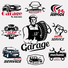 auto service and garage retro emblems and labels collection