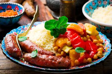 Couscous and Merguez Sausages.selective focus