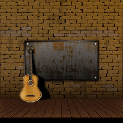 acoustic guitar brick wall Iron Shield frame