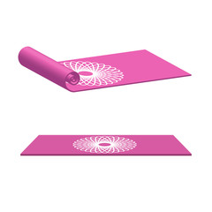 Yoga mat rolled and open in pink color