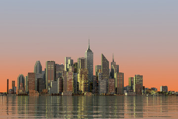 3D RENDERING ILLUSTRATION OF SKYLINE