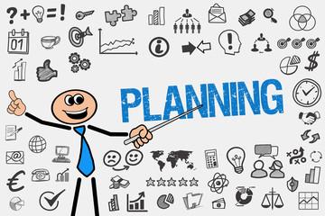 Planning / Mann mit Symbole
