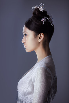 Portrait of a futuristic young asian woman.