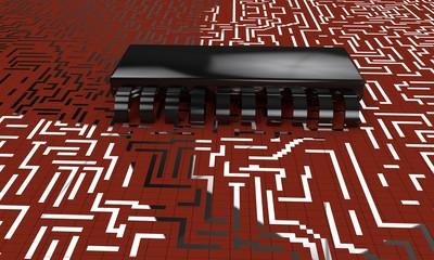Electronic circuit,chip model 3d render