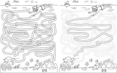 Help this child underwater to find his friend Turtle. Labyrinth maze game vector.
