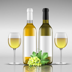 bottles of white wine with glass
