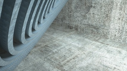 Metal spirals on a cement background with light, 3 d render