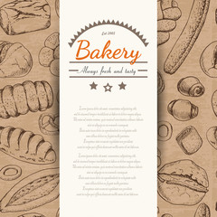 Vertical background with various bakery products