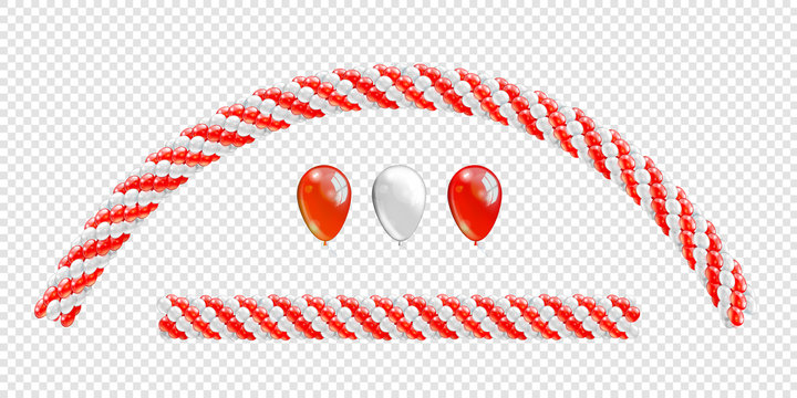 Garlands of balloons. Red and white colors balloons line and arch. Arch of balloons. Red and white balloon set. Vector objects on transparent background