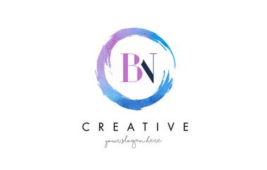 BN Letter Logo Circular Purple Splash Brush Concept.