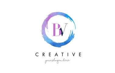 BV Letter Logo Circular Purple Splash Brush Concept.