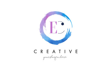 EC Letter Logo Circular Purple Splash Brush Concept.