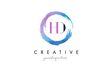 HD Letter Logo Circular Purple Splash Brush Concept.