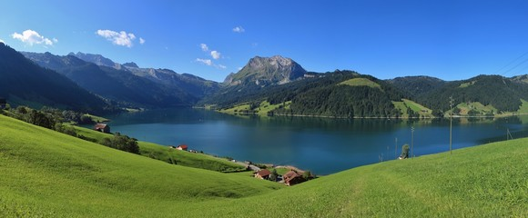 Lake Wagital in summer. Green meadow and mount Fluebrig.