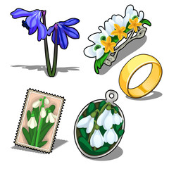 Vector romantic set of floral theme and gold ring