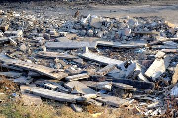 Leftowers after controled house demolition
