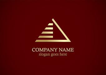 gold triangle line pyramid logo