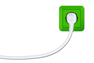 green electric socket with white cable and connector concept isolated on white background / Steckdose mit Stecker und Kabel grün Ökostrom Konzept isoliert